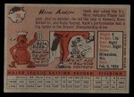 1958 Topps #30 ^WN^ Hank Aaron  Back Thumbnail