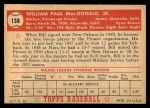 1952 Topps #138 CRM Bill MacDonald  Back Thumbnail