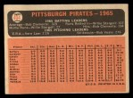 1966 Topps #404 *ERR*  Pirates Team Back Thumbnail