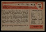 1954 Bowman #136  Clyde Vollmer  Back Thumbnail