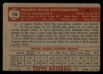 1952 Topps #118  Ken Raffensberger  Back Thumbnail