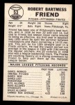 1960 Leaf #53  Bob Friend  Back Thumbnail
