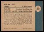 1961 Fleer #59   -  Bob Pettit In Action Back Thumbnail