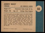 1961 Fleer #66   -  Jerry West In Action Back Thumbnail
