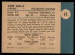 1961 Fleer #14  Tom Gola  Back Thumbnail