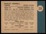 1961 Fleer #20  Bailey Howell  Back Thumbnail