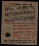 1948 Bowman #2  Ralph Hamilton  Back Thumbnail
