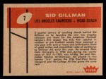 1960 Fleer #7  Sid Gillman  Back Thumbnail