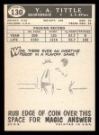 1959 Topps #130  Y.A. Tittle  Back Thumbnail
