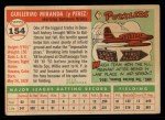 1955 Topps #154  Willie Miranda  Back Thumbnail