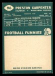 1960 Topps #96  Preston Carpenter  Back Thumbnail