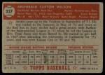 1952 Topps #327  Archie Wilson  Back Thumbnail