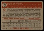 1952 Topps #70 RED Al Zarilla  Back Thumbnail