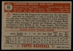 1952 Topps #53 RED Chris Van Cuyk  Back Thumbnail