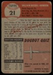 1953 Topps #21  Billy Johnson  Back Thumbnail