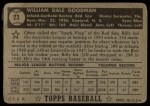 1952 Topps #23 BLK Billy Goodman  Back Thumbnail