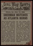1962 Topps Civil War News #80   City in Flames Back Thumbnail