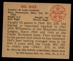 1950 Bowman #125  Del Rice  Back Thumbnail