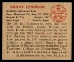 1950 Bowman #198  Danny Litwhiler  Back Thumbnail