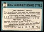 1965 Topps #116   -  Bobby Tolan / Dave Dowling Cardinals Rookies Back Thumbnail