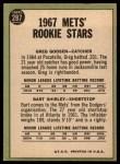 1967 Topps #287   -  Greg Goossen / Bart Shirley Mets Rookies Back Thumbnail