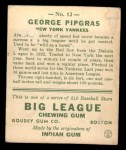 1933 Goudey #12  George Pipgras  Back Thumbnail