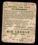 1933 Goudey #215  Russ Van Atta  Back Thumbnail
