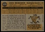 1960 Topps #548  Don Mincher  Back Thumbnail