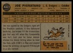 1960 Topps #442  Joe Pignatano  Back Thumbnail