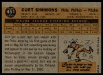 1960 Topps #451  Curt Simmons  Back Thumbnail