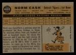 1960 Topps #488  Norm Cash  Back Thumbnail