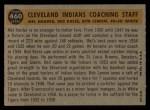 1960 Topps #460   -  Mel Harder / Jo Jo White / Bob Lemon / Ralph Kress Indians Coaches Back Thumbnail