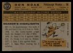 1960 Topps #373  Don Hoak  Back Thumbnail