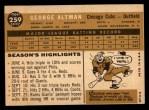 1960 Topps #259  George Altman  Back Thumbnail
