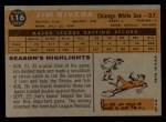1960 Topps #116  Jim Rivera  Back Thumbnail