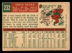 1959 Topps #232  Eddie Kasko  Back Thumbnail