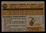 1960 Topps #290  Jerry Lumpe  Back Thumbnail