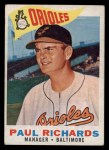 1960 Topps #224  Paul Richards  Front Thumbnail