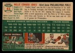 1954 Topps #41  Willie Jones  Back Thumbnail