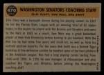 1960 Topps #470   -  Bob Swift / Ellis Clary / Sam Mele Senators Coaches Back Thumbnail