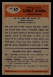 1955 Bowman #62  George Blanda  Back Thumbnail