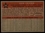 1958 Topps #492   -  Bob Friend All-Star Back Thumbnail