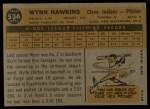 1960 Topps #536  Wynn Hawkins  Back Thumbnail