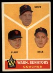 1960 Topps #470   -  Bob Swift / Ellis Clary / Sam Mele Senators Coaches Front Thumbnail