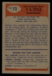 1955 Bowman #72  Y.A. Tittle  Back Thumbnail