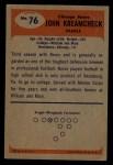 1955 Bowman #76  John Kreamcheck  Back Thumbnail