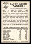 1960 Leaf #4  Camilo Pascual  Back Thumbnail