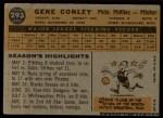 1960 Topps #293 COR Gene Conley  Back Thumbnail