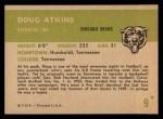 1961 Fleer #9  Doug Atkins  Back Thumbnail