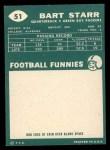 1960 Topps #51  Bart Starr  Back Thumbnail